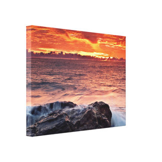 Orange Sunset Over Water Canvas Print