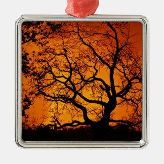 Orange sunset Silver-Colored square ornament
