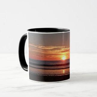 Orange sunset summer sunny seaside view mug