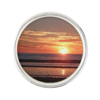 Orange sunset sunny seaside sky lapel pin