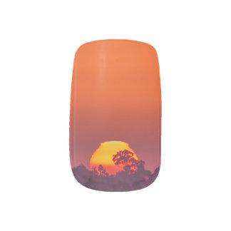 Orange Sunset with Tree Silhouette Minx Nail Art