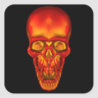 Orange Sunshine Skull Square Sticker