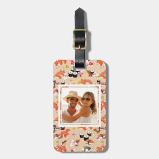 Orange Sushi Pattern | Add Your Photo Luggage Tag