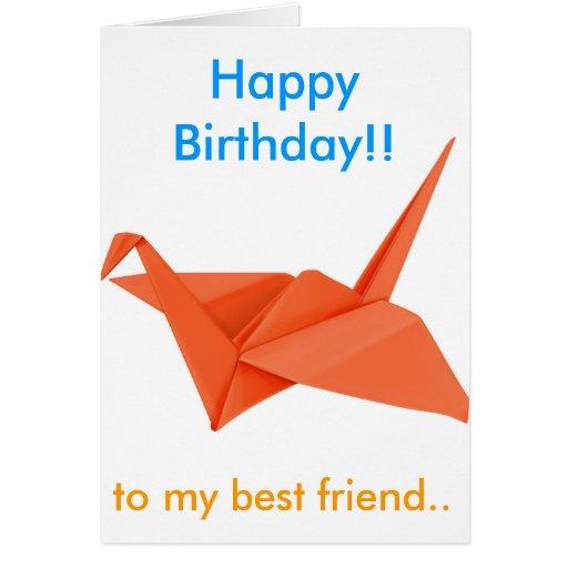 Orange Swan Happy Birthday to my best friend Greeting Cards