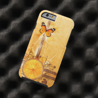 orange swirl art with butterfly tough iPhone 6 case