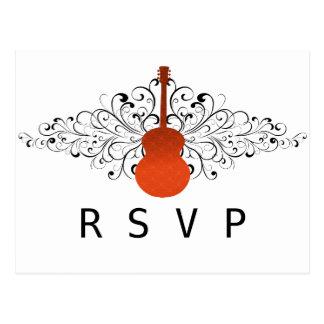 Orange Swirls Guitar RSVP Postcard