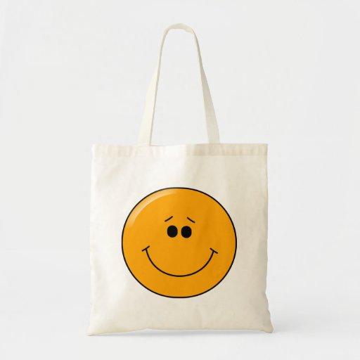Orange Sympathetic Big Smile Smiley Canvas Bag
