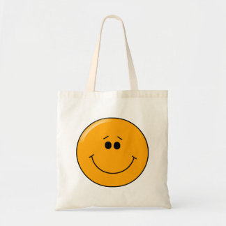 Orange Sympathetic Big Smile Smiley Budget Tote Bag