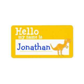 Orange T-Rex Hello My Name is Badge Name Badge Custom Address Label
