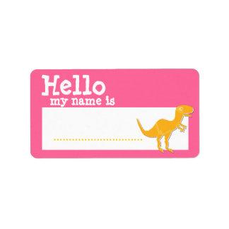 Orange T-Rex Hello My Name is Name Badge Pink Label
