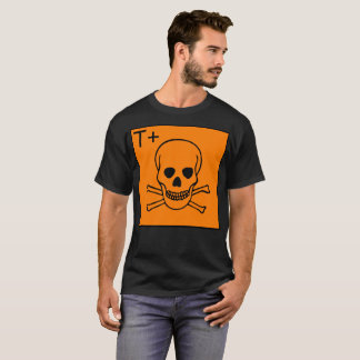 Orange T+ Skull Warning Display Halloween T-Shirt