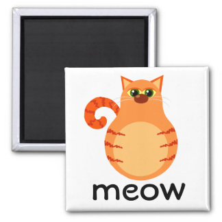 Orange Tabby Cat Cartoon Meow Magnet