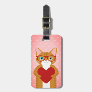 Orange Tabby Cat Holding Heart Luggage Tag