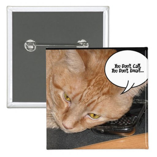Orange Tabby Cat Humor/Cell Phone Pinback Button