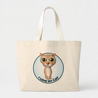 Orange Tabby Cat - I Love My Cat Large Tote Bag