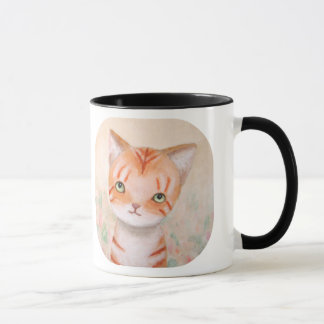 Orange Tabby Cat in Flower Garden Cute Chic Pastel Mug