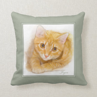 Orange Tabby Cat Painting Throw Pillow