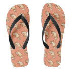 Orange tabby cat pattern flip flops