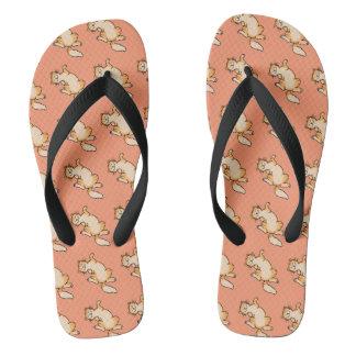 Orange tabby cat pattern flip flops