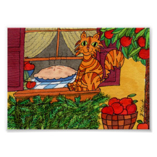 Orange Tabby Cat with Apple Pie Mini Folk Art Poster
