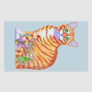 Orange Tabby Cat with Dancing Mice Front Sticker