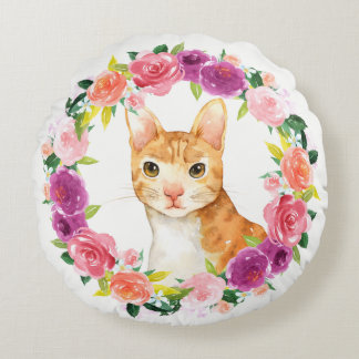 Orange Tabby Cat with Floral Wreath Pillow
