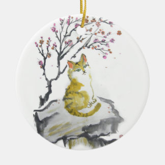 Orange Tabby Cat with Plum Blossoms Ornament