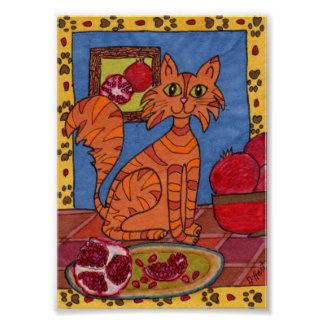 Orange Tabby Cat with Pomegranates Mini Folk Art Poster