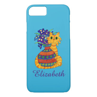 Orange Tabby Cat with Vase of Irises Custom Name iPhone 8/7 Case