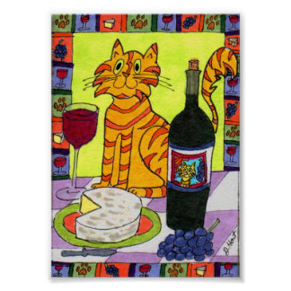 Orange Tabby Cat with Wine & Cheese Mini Folk Art Poster