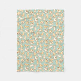 Orange Tabby Cats Illustrated Pattern Fleece Blanket