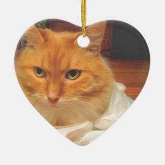 Orange Tabby Ceramic Ornament