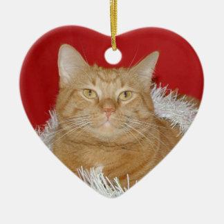 Orange tabby Christmas Ceramic Ornament