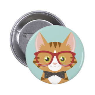 Orange Tabby Hipster Cat Illustration 2 Inch Round Button