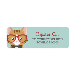 Orange Tabby Hipster Cat Kids Return Address Label