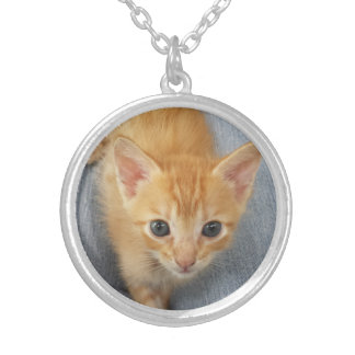 Orange Tabby Kitten Silver Plated Necklace