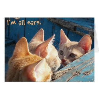 "Orange Tabby Kittens ""I'm All Ears"" Greeting Card"