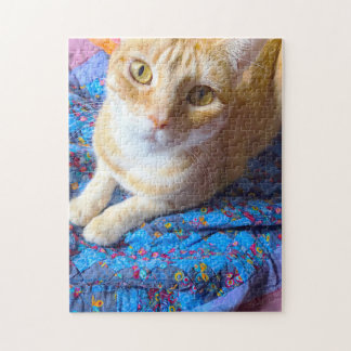 Orange tabby on quilt jigsaw puzzle