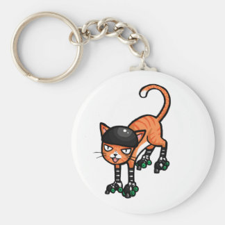 Orange tabby on rollerskates basic round button keychain