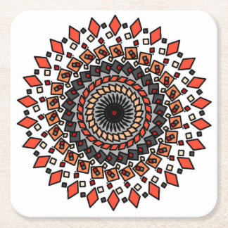 Orange Tan Geometric Spiral Design Coasters
