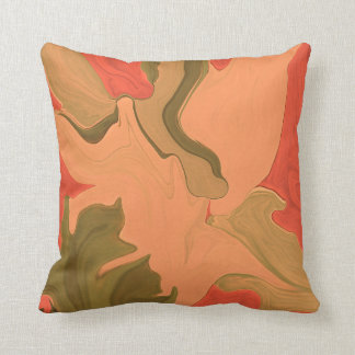 orange tangerine abstract art throw pillow
