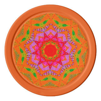 Orange Tango Fractal Poker Chips