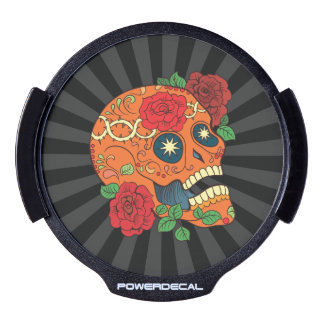 Orange Tattoo Day of Dead Sugar Skull Red Roses LED Window Decal