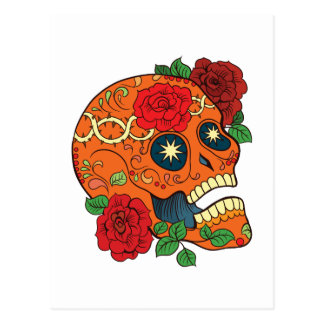 Orange Tattoo Day of Dead Sugar Skull Red Roses Postcard