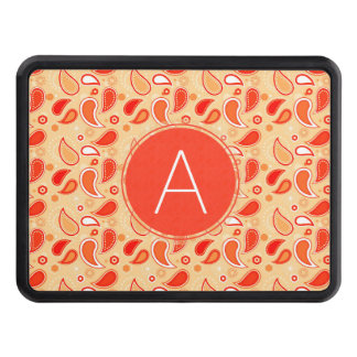 Orange Tea Paisley Pattern with Monogram Trailer Hitch Cover