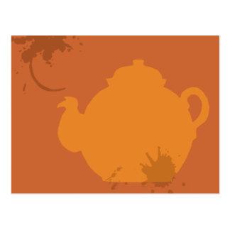 Orange tea pot postcard