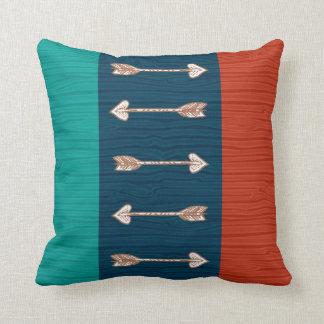 Orange, Teal and Blue Arrow Pillow
