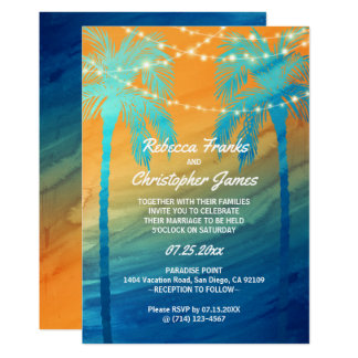 Orange Teal Blue Tropical Wedding Invitations