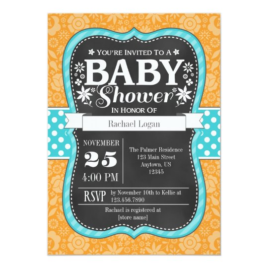 Orange Teal Chalkboard Floral Baby Shower Invite