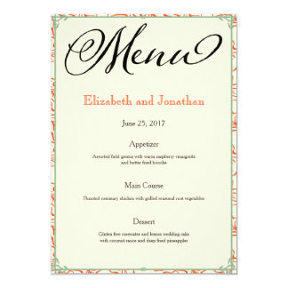 Orange & Teal Country Wedding Reception Menu Card